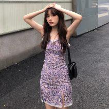 Dress Summer 2021 violet S, M Short skirt singleton  Sleeveless commute High waist Broken flowers A-line skirt camisole 18-24 years old Type A Korean version 31% (inclusive) - 50% (inclusive) polyester fiber