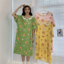 Nightdress Other / other Lemon yellow, butter green, lovely pink Average size Korean version Short sleeve Leisure home Middle-skirt summer Cartoon animation youth Crew neck acrylic fibres 61% (inclusive) - 80% (inclusive) 1978X