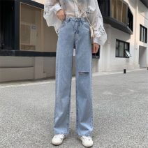 Jeans Summer 2021 Blue Hole , The blue is unbreakable S,M,L trousers High waist Straight pants routine 18-24 years old Cotton denim 6861H 71% (inclusive) - 80% (inclusive)