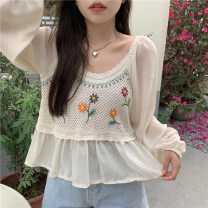 shirt Apricot, white Average size Summer 2021 polyester fiber 51% (inclusive) - 70% (inclusive) Long sleeves commute Regular Crew neck Socket routine 18-24 years old Straight cylinder Korean version 9511M Button