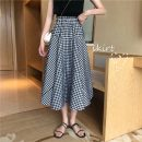 skirt Spring 2021 Average size Black and white check Mid length dress commute High waist skirt lattice 18-24 years old 6652H 71% (inclusive) - 80% (inclusive) polyester fiber Button Korean version