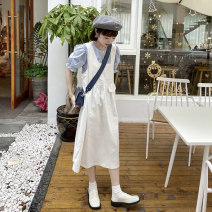 Fashion suit Summer 2021 Average size White jacket, blue jacket, black suspender skirt, white suspender skirt 18-25 years old 8977F 51% (inclusive) - 70% (inclusive) cotton