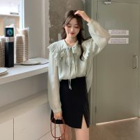 Lace / Chiffon Spring 2021 Apricot, greyish green Average size Long sleeves commute Socket singleton  easy Regular Doll Collar routine 18-24 years old Korean version 51% (inclusive) - 70% (inclusive) polyester fiber