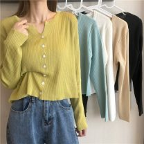 Wool knitwear Spring 2021 Average size Apricot, lake blue, white, green, black Long sleeves singleton  Cardigan Viscose 31% (inclusive) - 50% (inclusive) have cash less than that is registered in the accounts routine commute easy routine Single breasted Korean version 9002F 18-24 years old