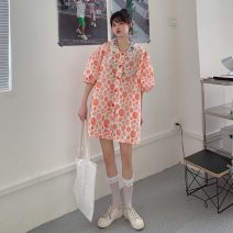 Dress Summer 2021 Picture color Average size Middle-skirt singleton  Long sleeves commute Hood Decor Single breasted routine 18-24 years old Type A Korean version 3115X 51% (inclusive) - 70% (inclusive) polyester fiber