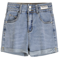 Jeans Summer 2021 blue S,M,L,XL shorts High waist Straight pants routine 18-24 years old Cotton denim 91% (inclusive) - 95% (inclusive)