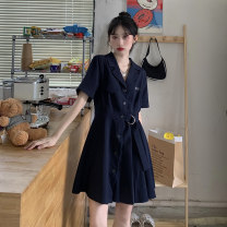 Dress Summer 2021 Gray, blue Average size Short skirt singleton  Short sleeve commute tailored collar High waist Solid color routine 18-24 years old Korean version 51% (inclusive) - 70% (inclusive) polyester fiber
