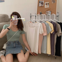 T-shirt Average size Summer 2021 Short sleeve Crew neck Self cultivation Regular routine commute cotton 51% (inclusive) - 70% (inclusive) 18-24 years old Korean version Solid color tassels
