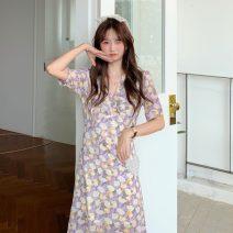 Dress Summer 2021 Light purple, light green Average size Middle-skirt singleton  Short sleeve commute V-neck Decor Socket routine 18-24 years old Type A Korean version 576X 51% (inclusive) - 70% (inclusive) polyester fiber
