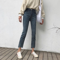 Jeans Spring of 2019 Blue, black S,M,L Ninth pants High waist Straight pants routine 18-24 years old washing Cotton denim Q8193 Other / other 81% (inclusive) - 90% (inclusive)