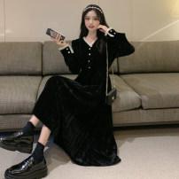 Dress Autumn 2020 Black long, black short Average size Mid length dress singleton  Long sleeves commute Crew neck High waist Socket 18-24 years old Type H Korean version 159M 31% (inclusive) - 50% (inclusive) polyester fiber