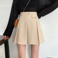 skirt Spring 2020 S,M,L Black skirt, apricot skirt Short skirt Versatile High waist Pleated skirt 18-24 years old 6876F 31% (inclusive) - 50% (inclusive) cotton