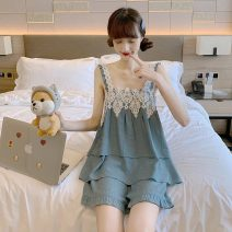 Pajamas / housewear set female Other / other Average size Suit, nightdress Polyester (polyester) Sleeveless Leisure home summer Thin money shorts youth 2 pieces 41% (inclusive) - 60% (inclusive) 3125F Middle-skirt
