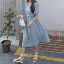 Dress Summer 2021 White, blue, pink Average size Mid length dress singleton  Short sleeve commute square neck High waist Solid color puff sleeve 18-24 years old Korean version 5424H 71% (inclusive) - 80% (inclusive) polyester fiber