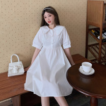 Dress Summer 2021 White, blue Average size Mid length dress singleton  Short sleeve commute Polo collar High waist A-line skirt Others 18-24 years old Type A Korean version 2068F 51% (inclusive) - 70% (inclusive) cotton