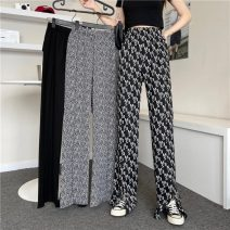 Casual pants Black, water ripple, black MS M, L Summer 2021 trousers Flared trousers High waist commute routine 18-24 years old 51% (inclusive) - 70% (inclusive) 5515X Korean version polyester fiber