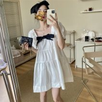 Dress Summer 2021 white Average size Short skirt singleton  Short sleeve commute square neck High waist Solid color Socket A-line skirt Others 18-24 years old Korean version 51% (inclusive) - 70% (inclusive) cotton