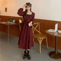 Dress Winter 2020 Apricot, red, black Average size Mid length dress singleton  Long sleeves commute square neck High waist A-line skirt routine Others 18-24 years old Other / other Korean version 897F 51% (inclusive) - 70% (inclusive) cotton