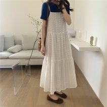Dress Summer 2021 white Average size Mid length dress singleton  Long sleeves commute High waist Solid color Socket A-line skirt routine camisole 18-24 years old Type A Korean version 3870H 71% (inclusive) - 80% (inclusive) cotton