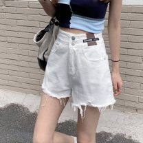 Jeans Summer 2021 white S,M,L shorts High waist Wide legged trousers routine 18-24 years old Cotton denim 8552H 71% (inclusive) - 80% (inclusive)