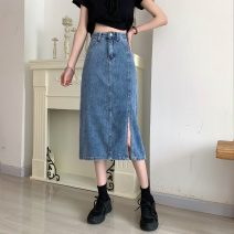 skirt Spring 2021 S,M,L,XL Picture color Mid length dress commute High waist A-line skirt Solid color Type A 18-24 years old 8026X 71% (inclusive) - 80% (inclusive) cotton Korean version