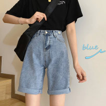 Jeans Spring 2021 blue S,M,L Pant High waist Straight pants routine 18-24 years old Make old Cotton denim light colour 51% (inclusive) - 70% (inclusive)