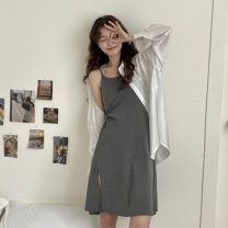 Dress Summer 2021 Gray, black Average size Middle-skirt singleton  Sleeveless commute Crew neck Solid color Socket 18-24 years old Type A Korean version 2275X 51% (inclusive) - 70% (inclusive) cotton