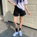 Jeans Summer 2021 White, black S,M,L shorts High waist Straight pants routine 18-24 years old Cotton denim Dark color 2210F 31% (inclusive) - 50% (inclusive)