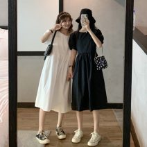 Dress Summer 2021 White, black Average size Mid length dress singleton  Short sleeve commute Crew neck Loose waist Solid color Socket puff sleeve 18-24 years old Korean version 9268H 81% (inclusive) - 90% (inclusive) polyester fiber