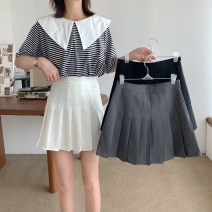 skirt Summer 2021 S,M,L White, black, grey Short skirt commute High waist A-line skirt Solid color Type A 18-24 years old 81% (inclusive) - 90% (inclusive) cotton Korean version