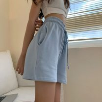 Casual pants Blue, plum powder Average size Summer 2021 shorts Wide leg pants High waist commute routine 18-24 years old 71% (inclusive) - 80% (inclusive) Korean version cotton