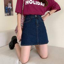 skirt Summer 2021 S,M,L,XL navy blue Short skirt commute High waist A-line skirt Type A 18-24 years old 2810F 71% (inclusive) - 80% (inclusive) Denim Korean version