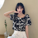 shirt polyester fiber 51% (inclusive) - 70% (inclusive) Short style (40cm < length ≤ 50cm) square neck Short sleeve commute Single row multi button Summer 2021 18-24 years old 3107M Straight tube Korean version One size fits all White, black
