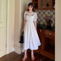 Dress Summer 2021 Two off white and two off blue S, M Mid length dress singleton  Short sleeve commute Crew neck High waist A-line skirt puff sleeve 18-24 years old Type A Korean version Splicing 9100H 81% (inclusive) - 90% (inclusive) polyester fiber