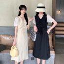 Dress Summer 2021 Apricot, blue, black Average size Mid length dress singleton  Short sleeve commute V-neck Solid color Socket puff sleeve 18-24 years old Korean version 81% (inclusive) - 90% (inclusive) polyester fiber