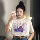 T-shirt White letter cat T-shirt, black letter cat T-shirt Average size Summer 2021 Short sleeve Crew neck easy Regular routine commute cotton 51% (inclusive) - 70% (inclusive) 18-24 years old Korean version 7112M