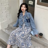 Dress Summer 2021 Floral dress, denim jacket S. M, average size Mid length dress singleton  Long sleeves commute V-neck High waist Broken flowers A-line skirt routine Others 18-24 years old Korean version 6517F 81% (inclusive) - 90% (inclusive) cotton