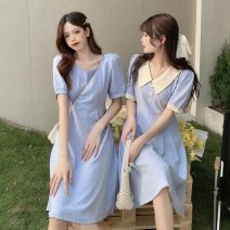 Dress Summer 2021 Square collar white, square collar blue, contrast collar white, contrast collar blue Average size Middle-skirt singleton  Short sleeve commute square neck Loose waist Socket routine 18-24 years old Type A Korean version 55586H 81% (inclusive) - 90% (inclusive) polyester fiber