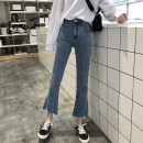 Jeans Autumn of 2019 Light blue, dark blue S,M,L,XL Ninth pants High waist Flared trousers 18-24 years old Make old Cotton elastic denim Dark color 8135Y Other / other 51% (inclusive) - 70% (inclusive)