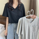 T-shirt Gray, white, black Average size Summer 2021 Short sleeve V-neck Straight cylinder Regular routine commute cotton 51% (inclusive) - 70% (inclusive) 18-24 years old Korean version Solid color 88336M