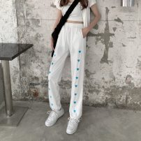 Casual pants White, black Average size Spring 2021 trousers Wide leg pants High waist commute routine 18-24 years old 51% (inclusive) - 70% (inclusive) 1291X Korean version polyester fiber