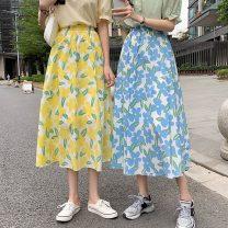 skirt Summer 2021 S,M,L Blue, yellow, orange Mid length dress commute High waist A-line skirt 18-24 years old 61007F 71% (inclusive) - 80% (inclusive) polyester fiber Korean version