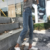 Jeans Spring of 2019 wathet S,M,L,XL Ninth pants High waist Straight pants routine 18-24 years old Color contrast Cotton denim light colour Q8167 Other / other 71% (inclusive) - 80% (inclusive)