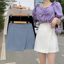 skirt Summer 2021 S,M,L Apricot, white, blue, black Short skirt commute High waist Solid color Type A 18-24 years old 3313M 51% (inclusive) - 70% (inclusive) cotton Korean version