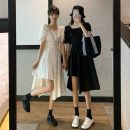 Dress Summer 2021 White, black Average size Mid length dress singleton  Short sleeve commute square neck High waist Solid color Socket A-line skirt routine 18-24 years old Type A Korean version Button 8327H 81% (inclusive) - 90% (inclusive) polyester fiber