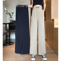 Casual pants Khaki, black S,M,L Summer 2021 trousers loose  High waist commute routine 18-24 years old 31% (inclusive) - 50% (inclusive) Korean version polyester fiber Asymmetry