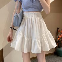 skirt Summer 2021 Average size White, black Short skirt commute High waist Fluffy skirt Solid color Type A 18-24 years old 8363X 71% (inclusive) - 80% (inclusive) polyester fiber Korean version