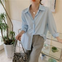 shirt White, goose yellow, light blue Average size Summer 2021 polyester fiber 71% (inclusive) - 80% (inclusive) Long sleeves commute Regular Polo collar Single row multi button Solid color 18-24 years old Korean version 1660H