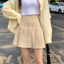 skirt Summer 2021 S,M,L,XL Small black, big black, yellow, purple, pink, blue Short skirt commute High waist Pleated skirt lattice Type A 18-24 years old 8723H 71% (inclusive) - 80% (inclusive) polyester fiber fold Korean version