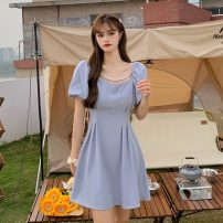 Dress Summer 2021 Blue, pink S,M,L Middle-skirt singleton  Short sleeve commute square neck Solid color Socket puff sleeve 18-24 years old Korean version 208H 71% (inclusive) - 80% (inclusive) polyester fiber